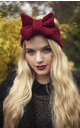 Burgundy Knitted Bow Headband by Beauxoxo