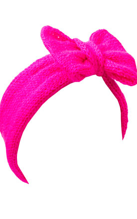 Neon Pink Knitted Bow Headband by Beauxoxo
