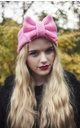Baby Pink Knitted Bow Headband by Beauxoxo