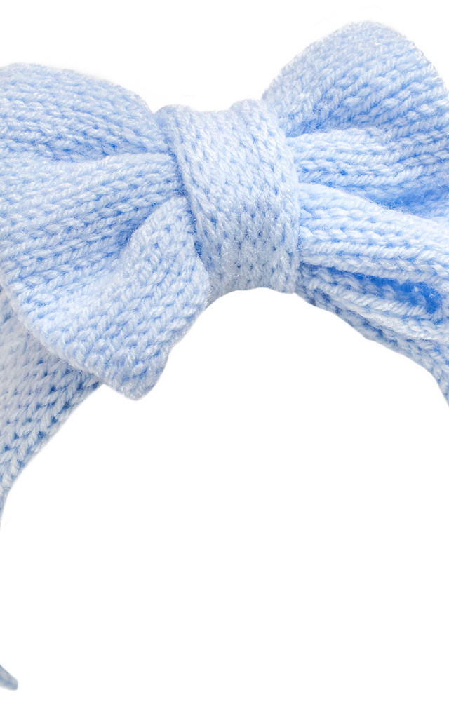 Baby Blue Knitted Bow Headband by Beauxoxo