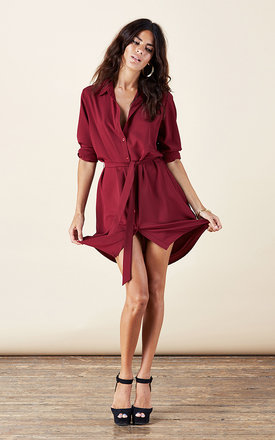 Mini shirt dress in oxblood by Dancing Leopard Product photo