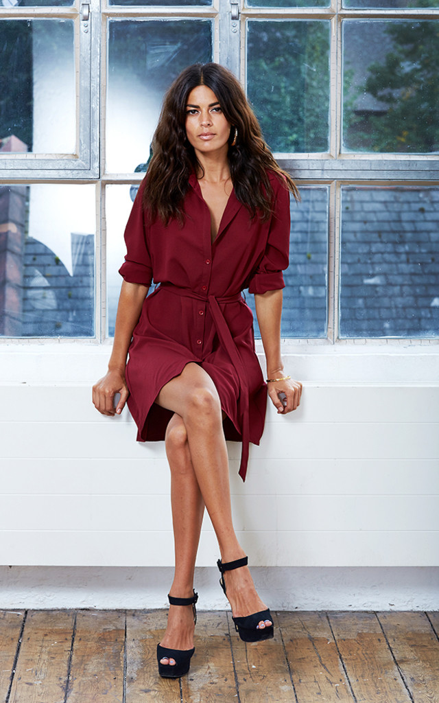 Mini Shirt Dress in Oxblood image