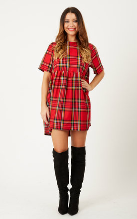 Beatrice tartan smock- red tartan by Mod Dolly Product photo