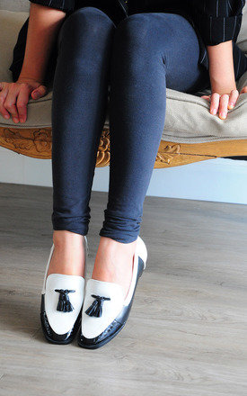 Whitney twin tassels black and white loafers by SEIRA ELVES