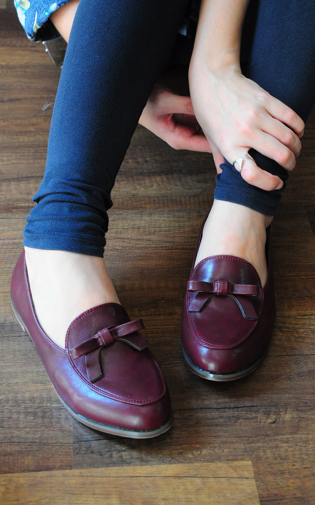 Amber red wine loafers with feminine bow by SEIRA ELVES