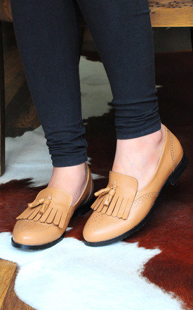 Faisal brown loafers with top and twin tassels  by SEIRA ELVES Product photo