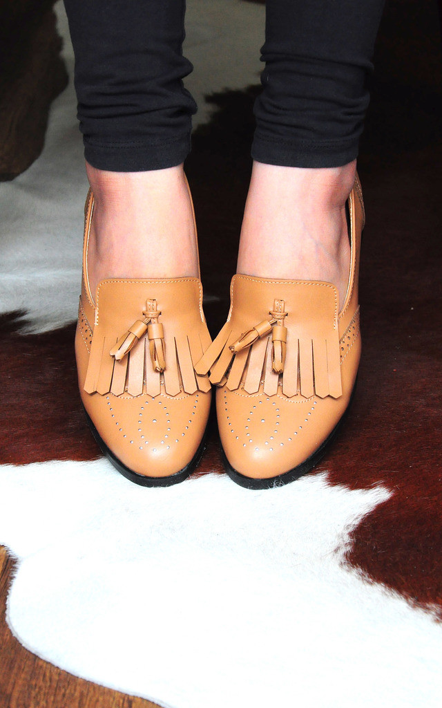 Faisal brown loafers with top and twin tassels by SEIRA ELVES