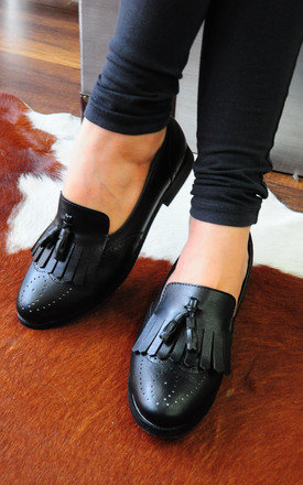 Faisal black loafers with top and twin tassels by SEIRA ELVES