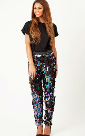 Tapered Trousers Petrol Sequin by Oh My Love Product photo