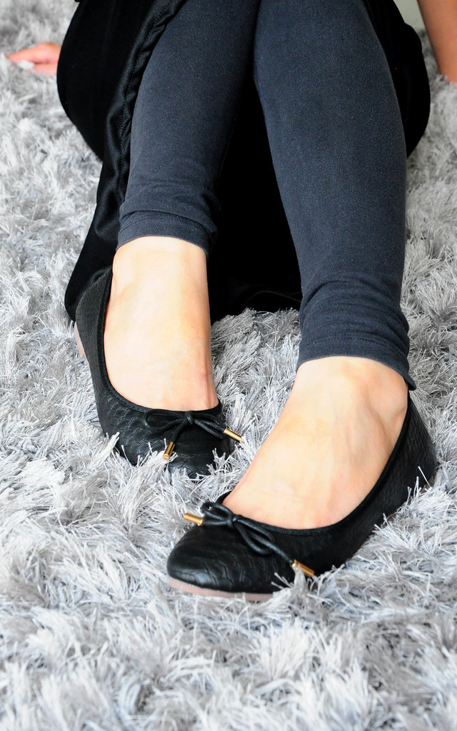 Sasha black snake print ballerinas by SEIRA ELVES