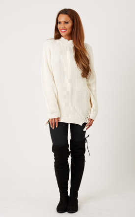 White neck knit side lace up jumper by VILA Product photo