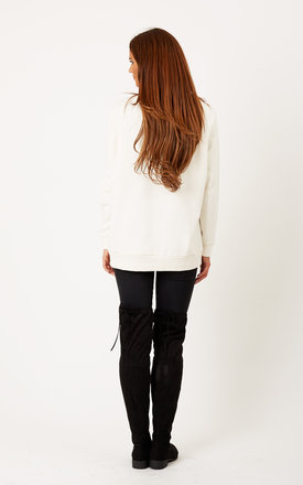 Lace Up Sweat Top Snow White by VILA