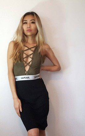 Suede lace up bodysuit by LILIPEARL Product photo