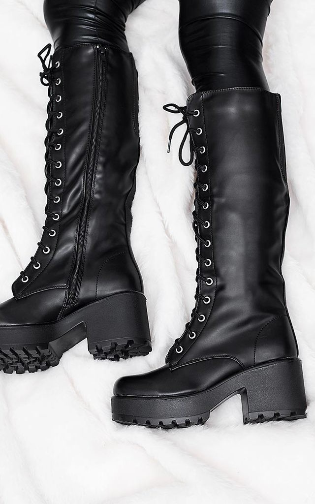 JEDEYE Cleated Sole Lace Up Platform Knee High Boots - Black Leather Style by SpyLoveBuy