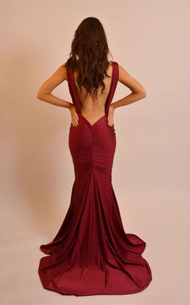 Belle deep red backless dress drape front detailing by Dressed By Lauren Product photo
