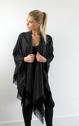 Fringed faux suede wrap by Scarlett Black London Product photo