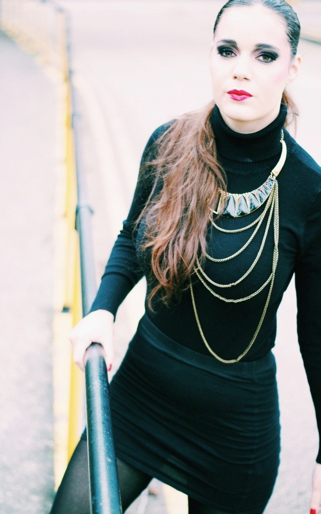 Statement gold black moon necklace by Kate Coleman