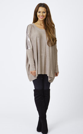 Beige sequin shoulder panel jumper by Lilah Rose Product photo