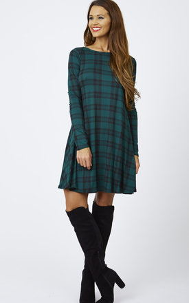 Green Check Long Sleeve Swing Dress by Lilah Rose