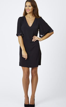 Black sequin sleeve dress by Lilah Rose Product photo