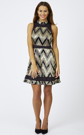 Sequin Embellished Jersey Skater Dress by Lilah Rose