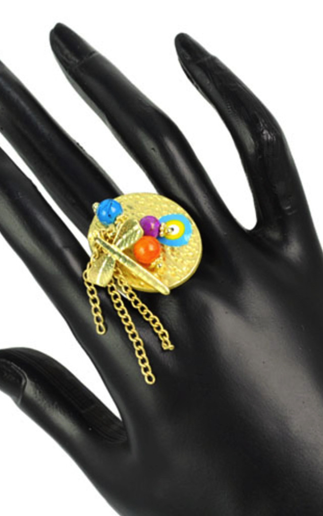 Gold Dragonfly Bohemian Ring by Emi Jewellery