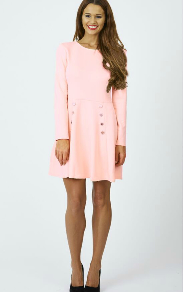 Long Sleeved Skater Dress with Buttons by Lilah Rose