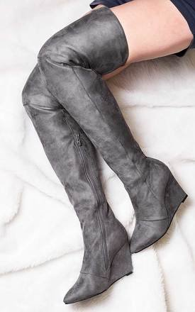 Sentinel wedge heel over knee tall boots - grey suede style by SpyLoveBuy Product photo