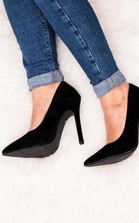 Liina heeled pointed toe court shoes - black suede style by SpyLoveBuy Product photo