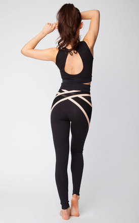 Quontum black::Nude wrap back high waisted leggings by Quontum Product photo