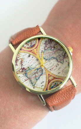 Brown vintage style globe watch  by Tallulah's Threads Product photo