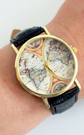 Black Vintage Globe Watch by Tallulah's Threads