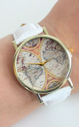 White Vintage Globe Watch by Tallulah's Threads