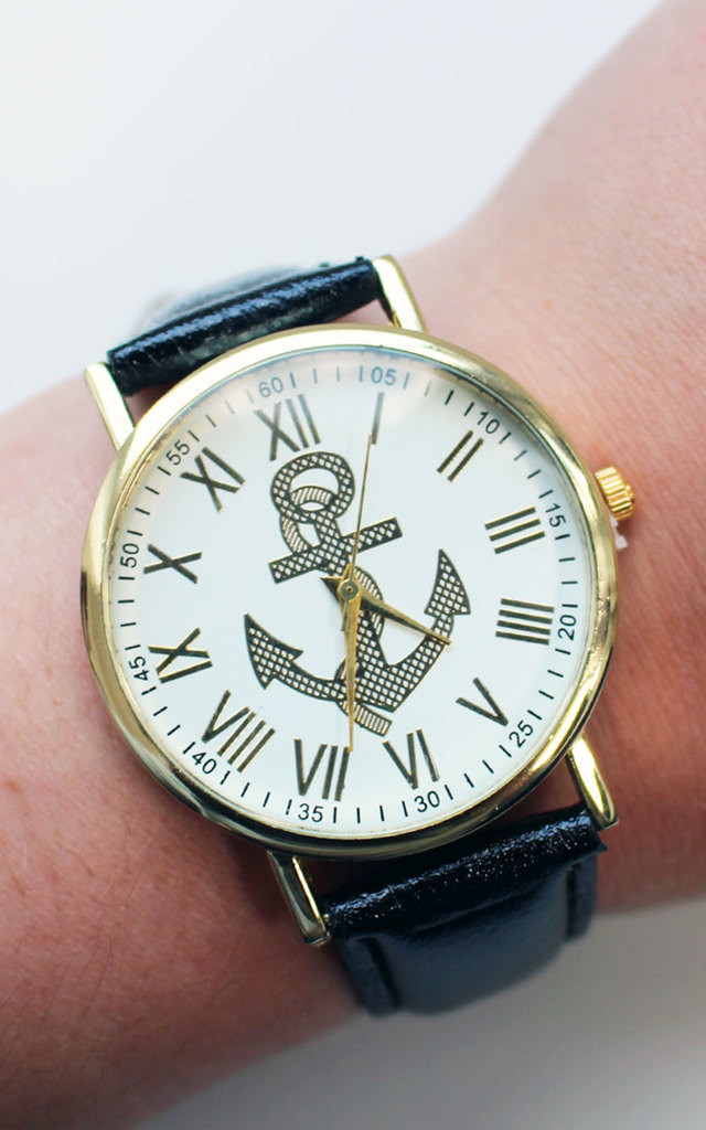 Black Nautical Anchor Watch by Tallulah's Threads