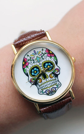 Brown sugar skull watch by Tallulah's Threads Product photo