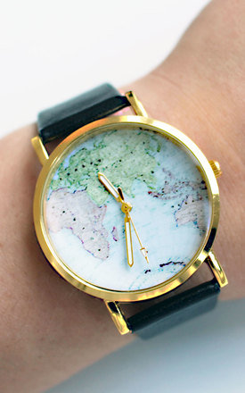 Black world map watch by Tallulah's Threads Product photo