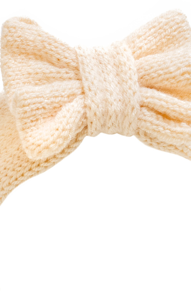 Glitter Peach Knitted Bow Headband by Beauxoxo
