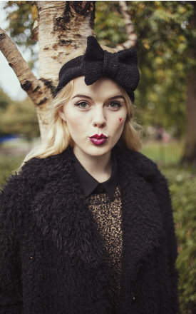 Glitter Black Knitted Bow Headband by Beauxoxo