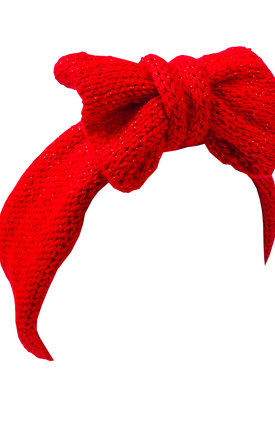 Christmas Glitter Red Knitted Bow Headband by Beauxoxo