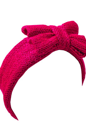 Glitter Knitted Hot Pink Bow Headband by Beauxoxo