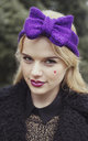 Glitter Purple Knitted Bow Headband by Beauxoxo