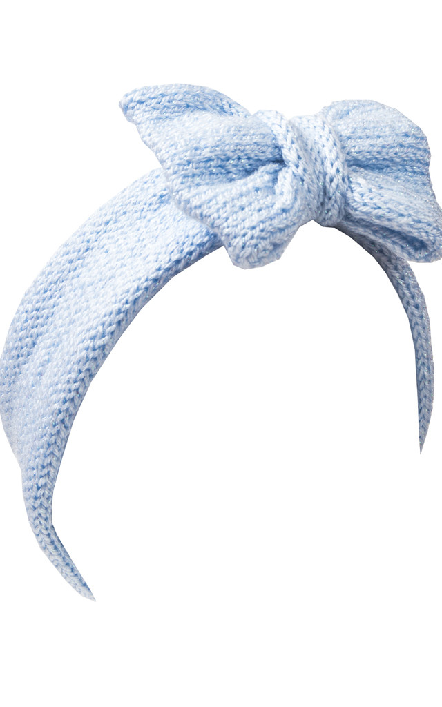 Glitter Baby Blue Knitted Bow Headband by Beauxoxo