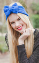 Glitter Royal Blue Knitted Bow Headband by Beauxoxo