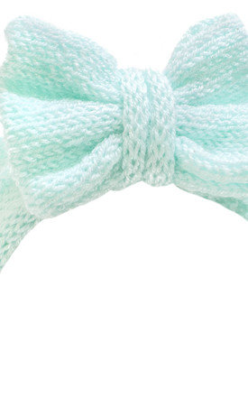 Glitter Knitted Mint Green Bow Headband by Beauxoxo