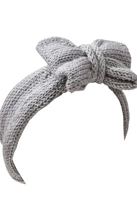 Silver Glitter Knitted Bow Headband by Beauxoxo