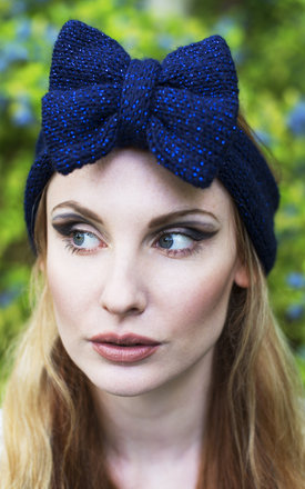 Navy Glitter Knitted Bow Headband by Beauxoxo