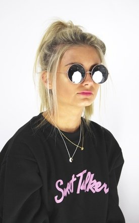 Round gun metal 90's sunglasses by Cats got the Cream Product photo
