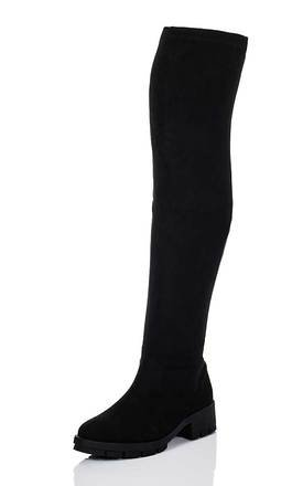 PEORIA Platform Cleated Sole Block Heel Over Knee Tall Boots - Black Suede Style by SpyLoveBuy