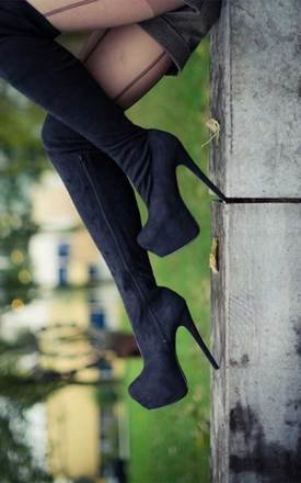 Rosa concealed platform thigh high heel boots - black suede style by SpyLoveBuy Product photo