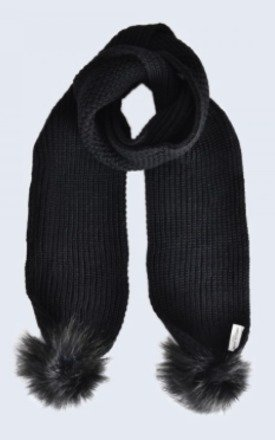 Black Scarf with Black Faux Fur Pom Poms by Amelia Jane London